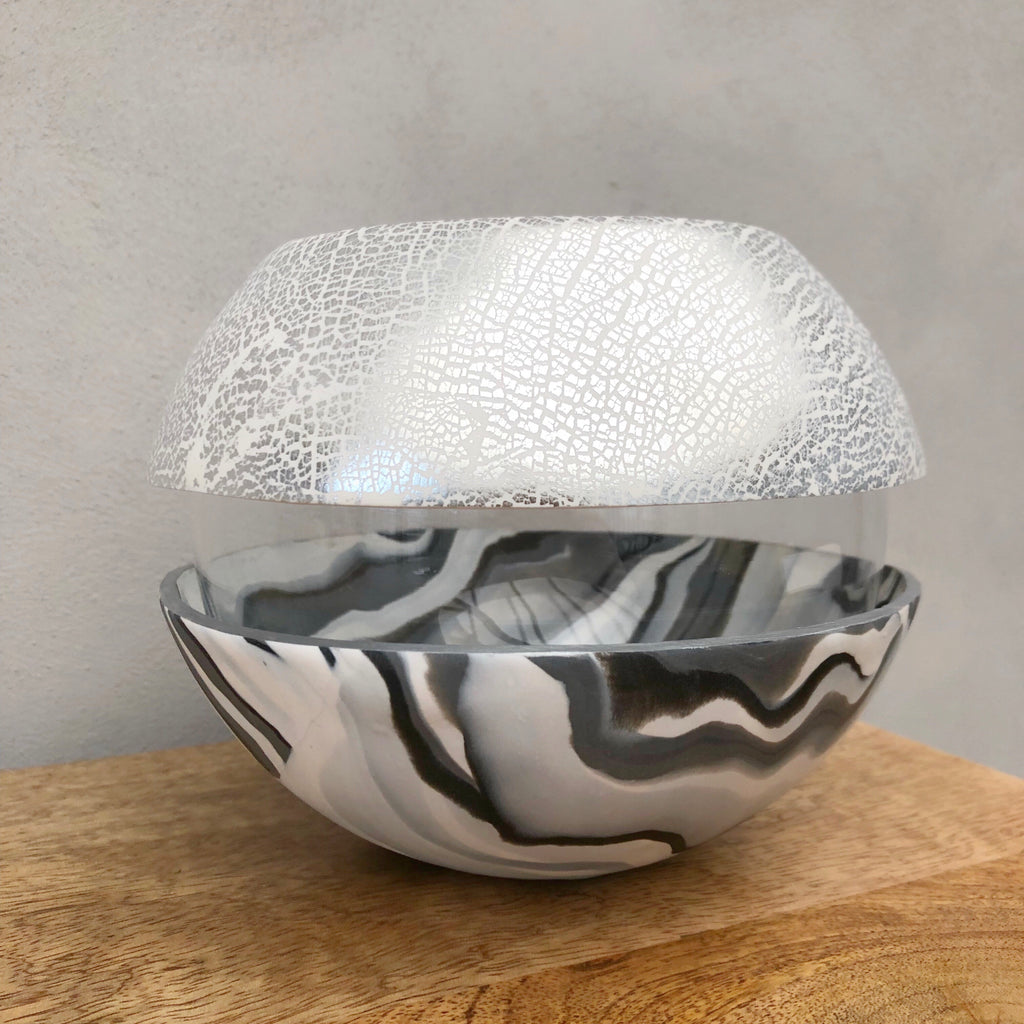 Light Marble and Silver Ball Vase