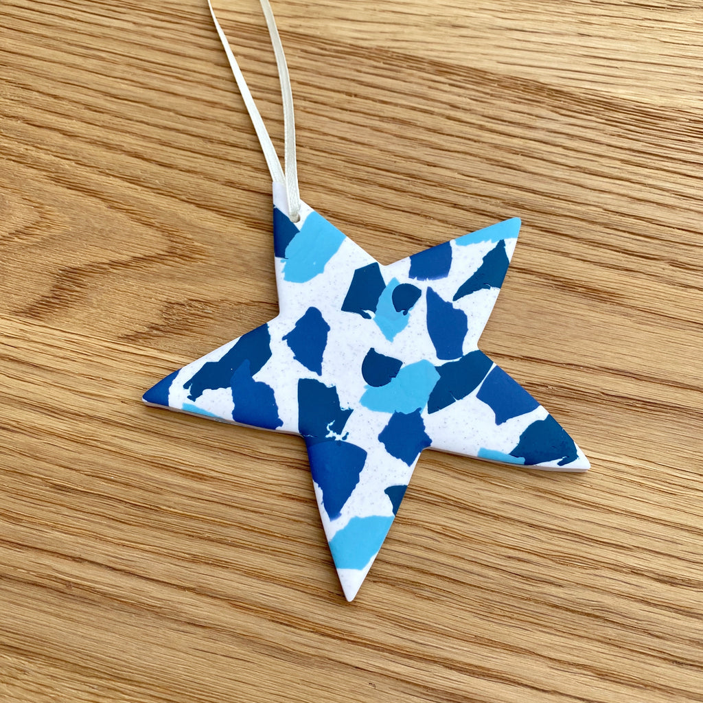 SALE - tones of blue hanging star decoration
