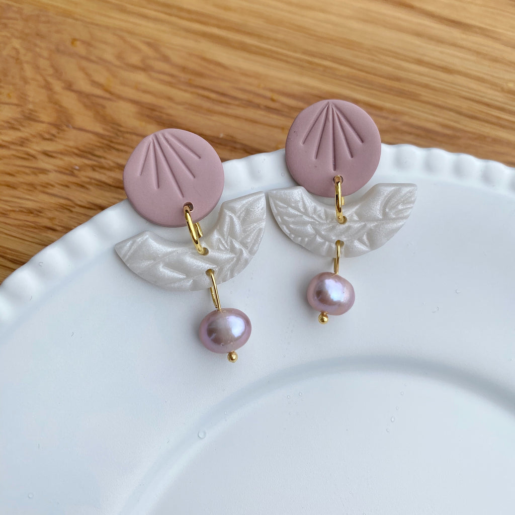 Pearly Pink disc and bridge statement earrings