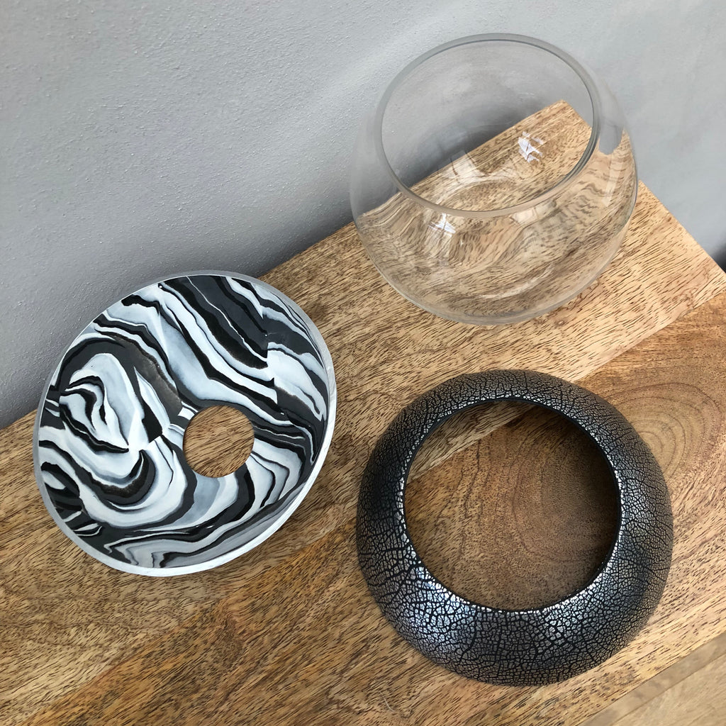 Dark Marble and Silver Ball Vase