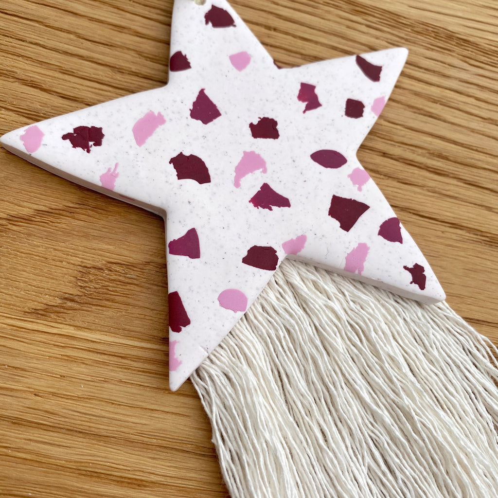 SALE - tones of pink hanging star decoration with tassels