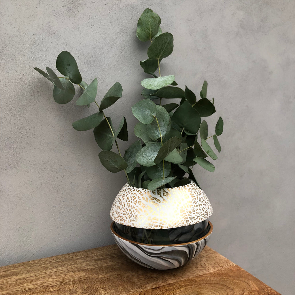 Light Marble and Gold Ball Vase