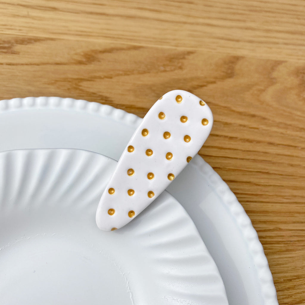 Large polka dot hair clip - White and gold