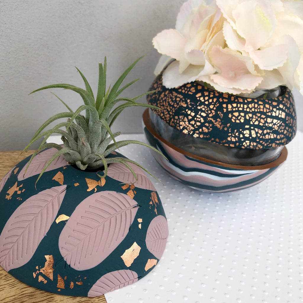 Teal and blush pink vase and airplant dome set