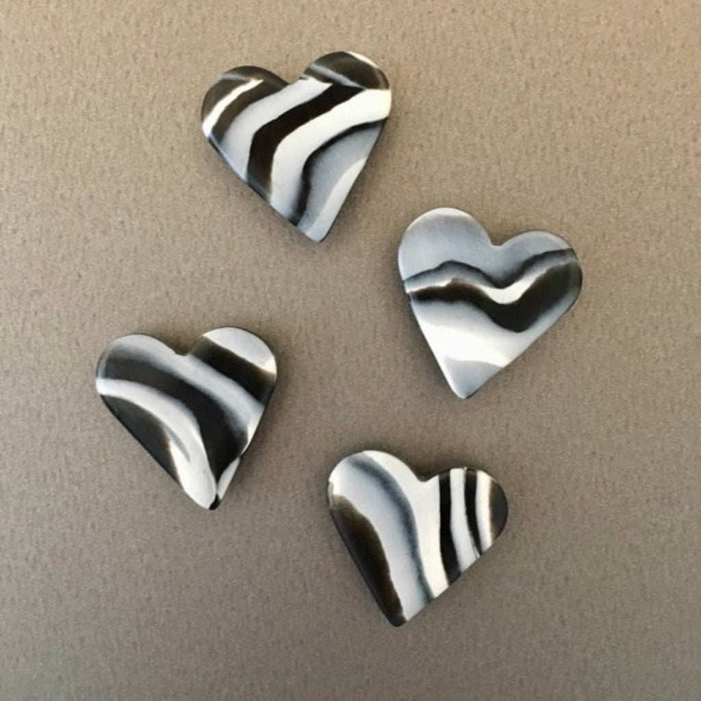 Black and white marble heart magnets - pack of 4