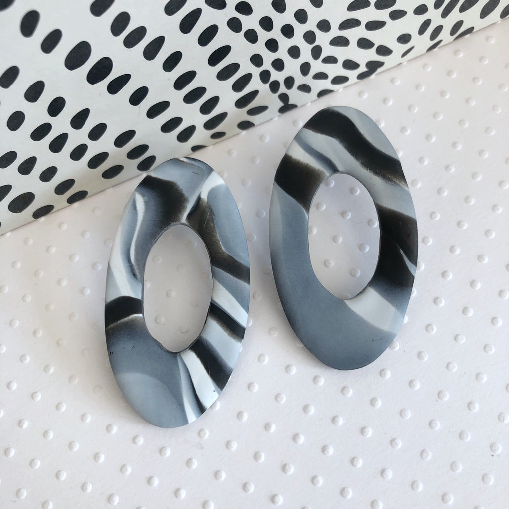 Marble clay oval donut statement earrings