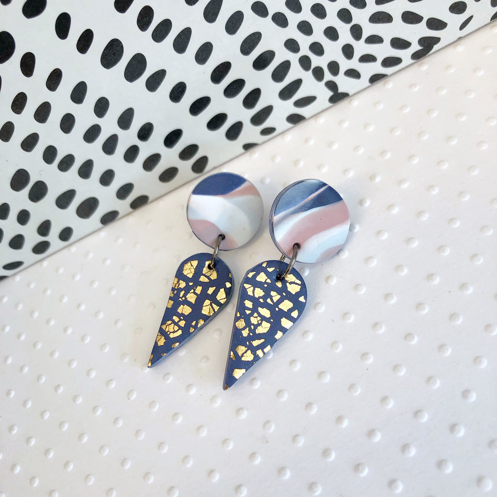 Navy marble teardrop and gold foil statement earrings