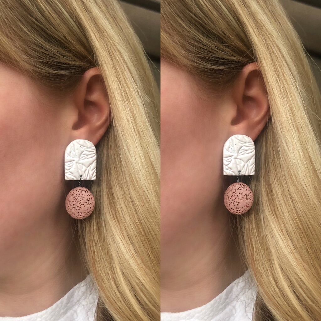 Pink lava stone and clay statement earrings