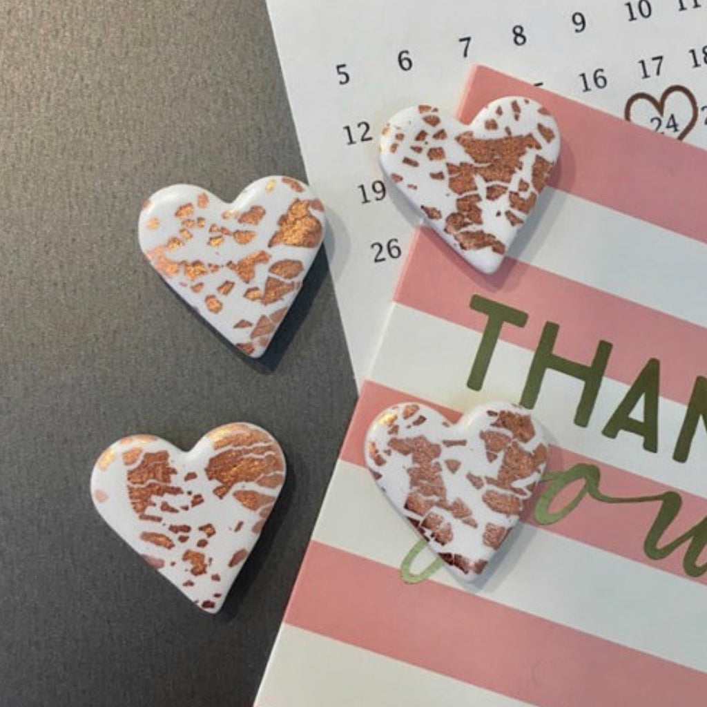 Copper foil heart magnets - pack of 4