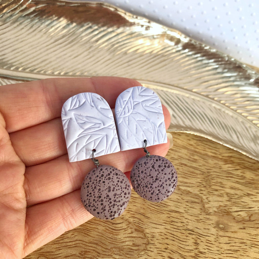 Purple lava stone and clay statement earrings