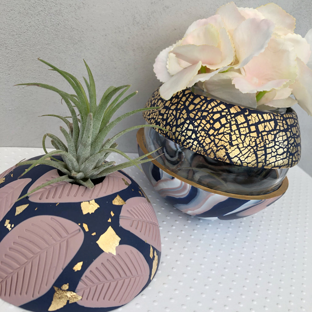 Navy and blush pink vase and airplant dome set