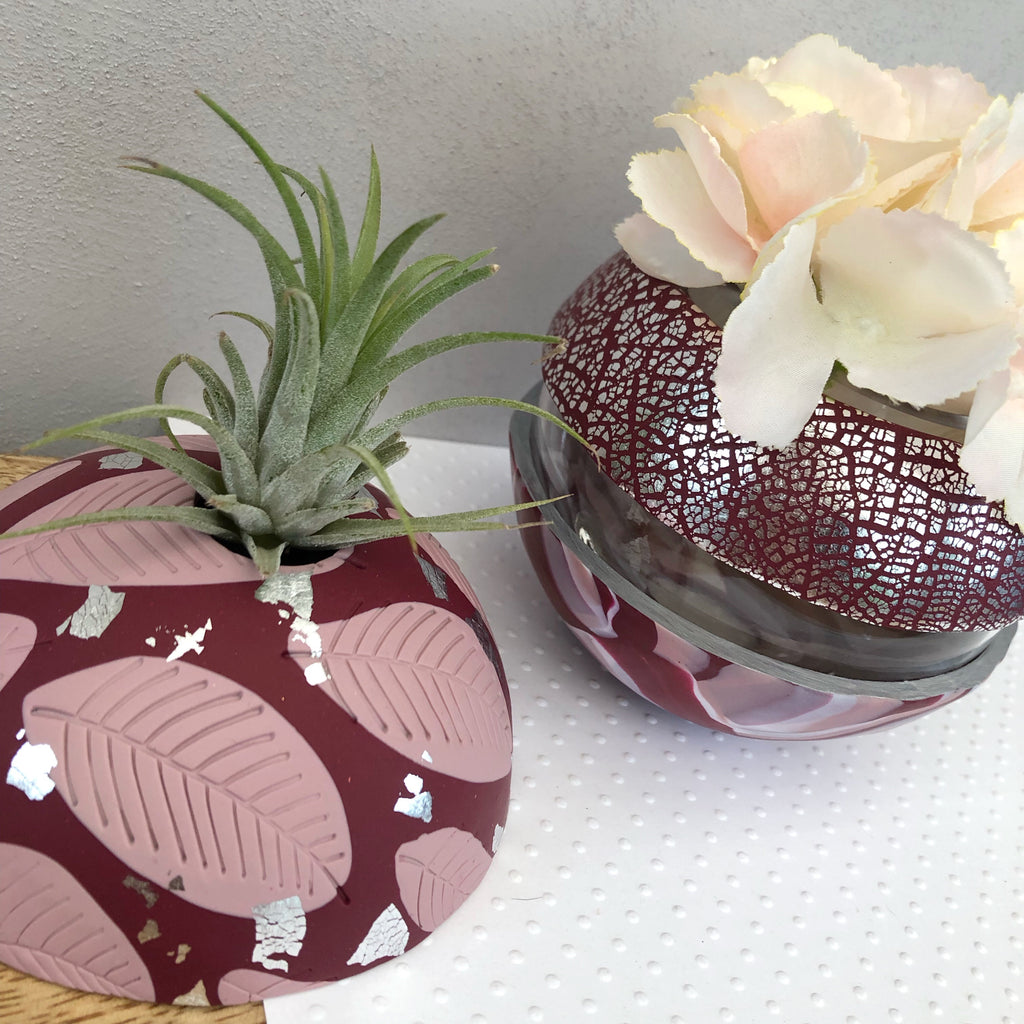 Burgundy and blush pink vase and airplant dome set