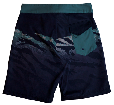 Board Shorts - Black/Green Camo