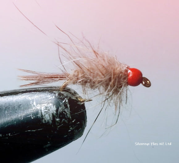 Fluro Hare and Copper (red bead) Custom-tied Dozen -Fly Fishing Trout Flies Silvereye Flies