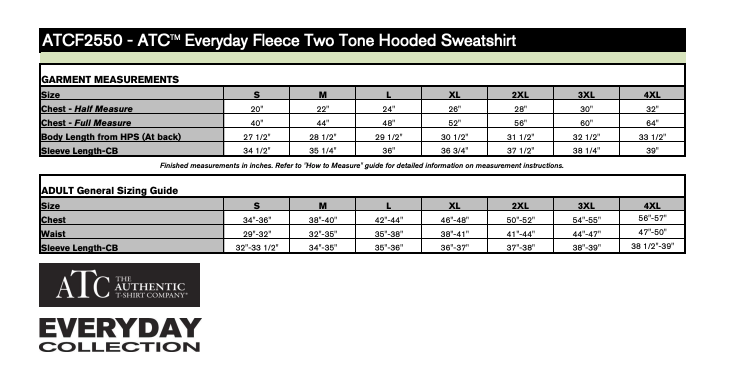 ATC Everyday Two Tone Hoody Size Chart