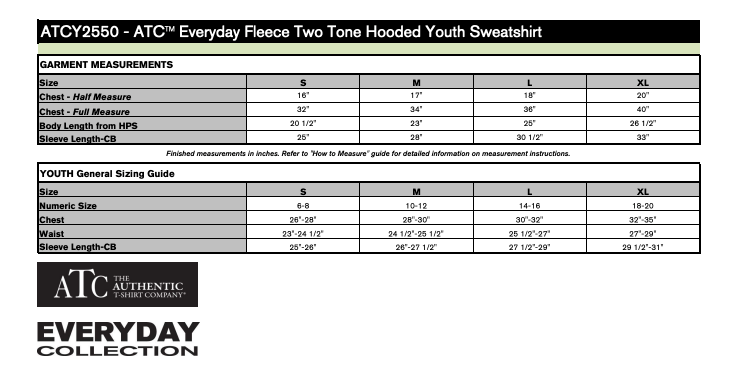 ATC Everyday Two Tone Hoody Youth Size Chart