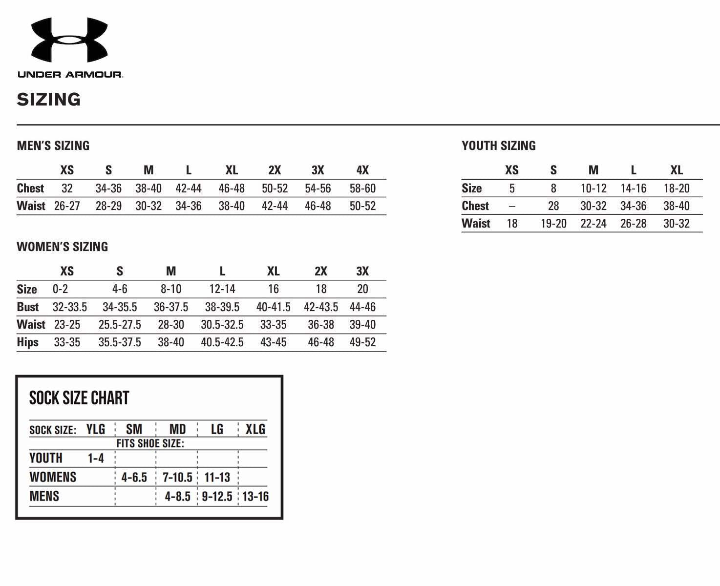 Under Armour Size Chart