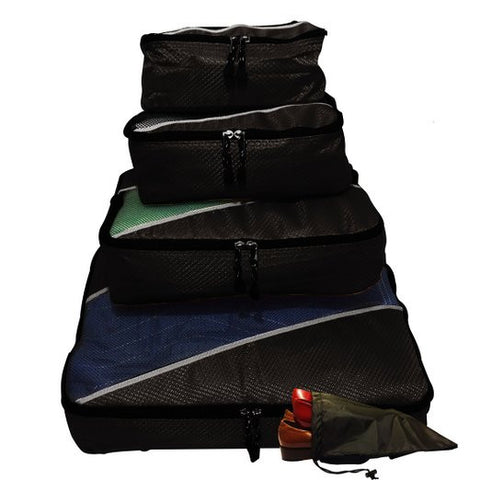 Evatex Travel Packing Cubes, Set of 4 Pieces with Shoe Bag