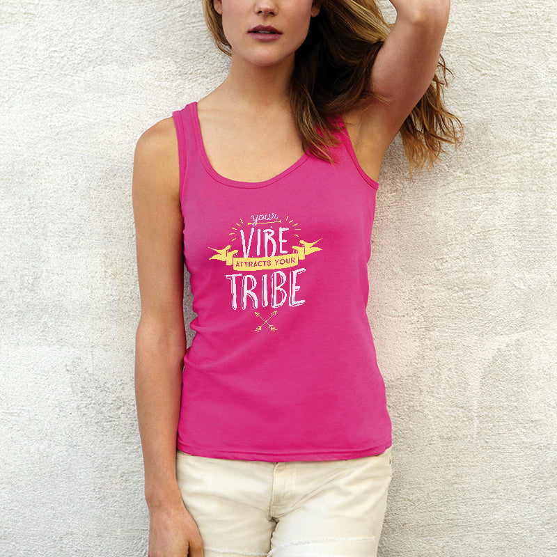 Your Vibe Attracts Your Tribe Tank Top (Hot Pink)