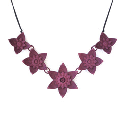 Dahlia floral necklace by Varily Jewelry