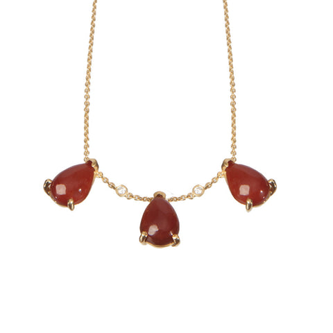 Necklace - Carnelian Diamond Necklace
