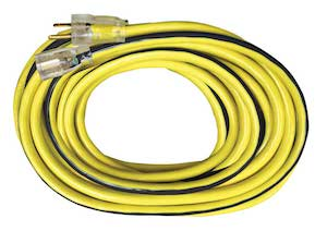 25' 12 gauge 3 conductor  300v SJTW-black/yellow single tap extension cord