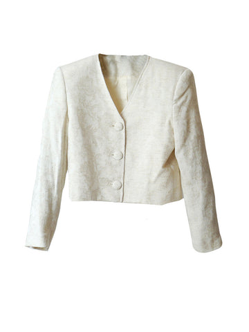 J023 80S VINTAGE TALBOTS CREAM BROCADE JACKET