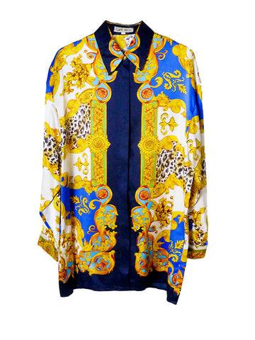 SB020 80S VINTAGE Silk Oversized Button Up Shirt