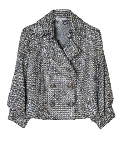 J011 ALBERTO MAKALI Cropped Tweed Trench