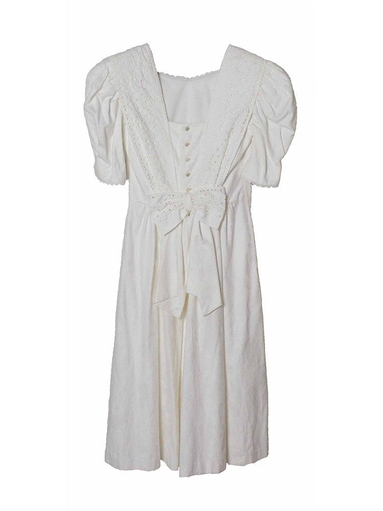 D017 80S RARE VINTAGE Kawaii White Sailor Dress