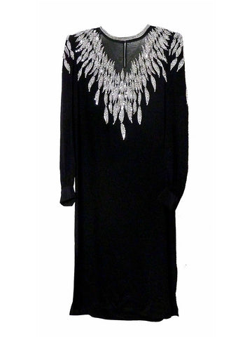D019 RARE 80S VINTAGE ARGENTI Mesh Beaded Glamour Dress