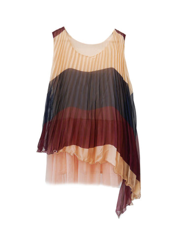 SB028 Colorblock Pleated Top