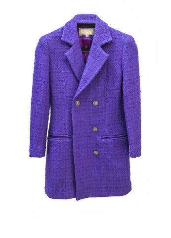 J018 80s Purple Tweed Coat