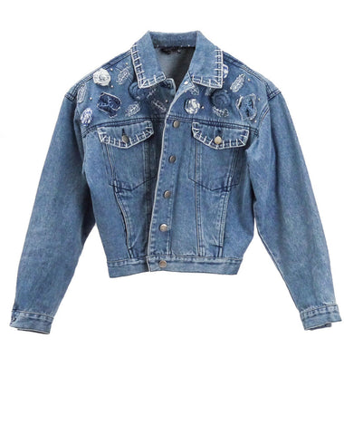 J016 RARE 80S VINTAGE Rosebud Denim Crop Jacket