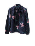 SB004 70S VINTAGE Floral Blouse with Neck Tie