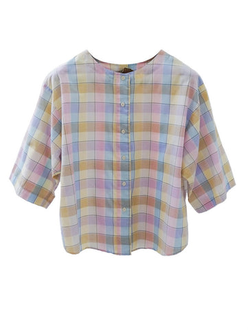 SB005 RARE 70S VINTAGE Pastel Checked Blouse