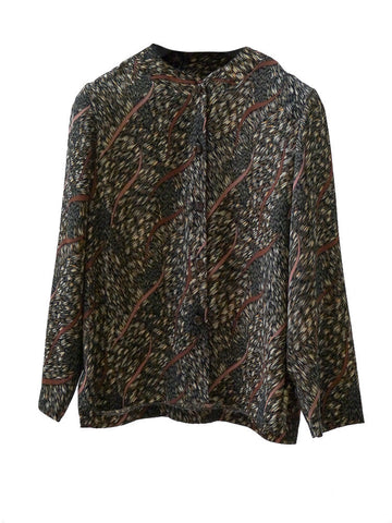 SB006 80s VINTAGE Feathered Print Blouse