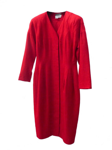 D011 80s RARE CARMEN MARC Red Laura Palmer Silk Dress