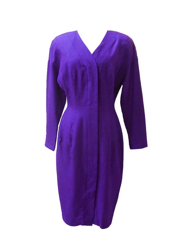D010 80s RARE CARMEN MARC Purple Laura Palmer Silk Dress