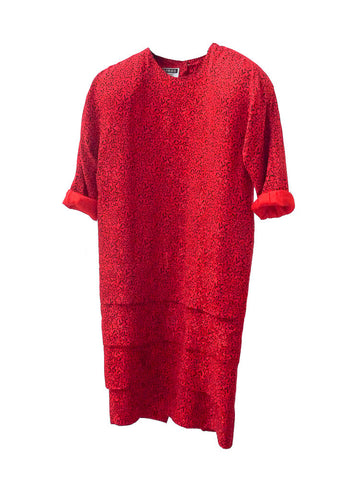D008 RARE CARMEN MARC 80s Red Shift Dress