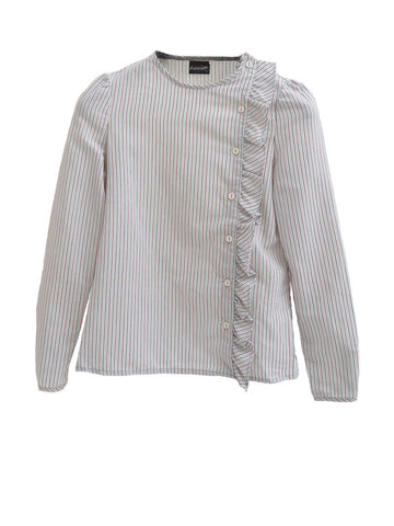 SB010 80S VINTAGE Pinstriped Ruffle Blouse