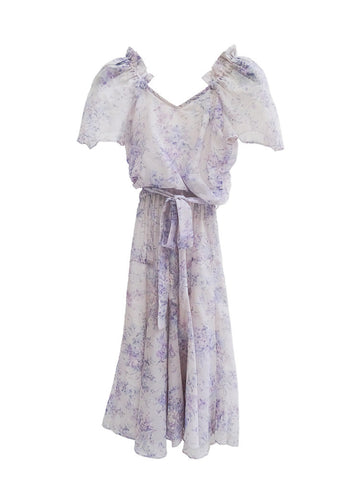 D006 70S VINTAGE Romantic Lavender Chiffon Dress