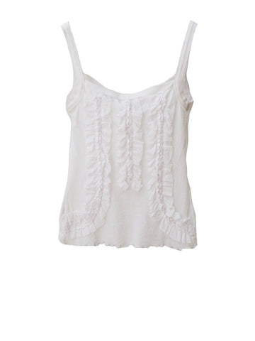 T007 90S VINTAGE BISOU BISOU White Ruffled Cami