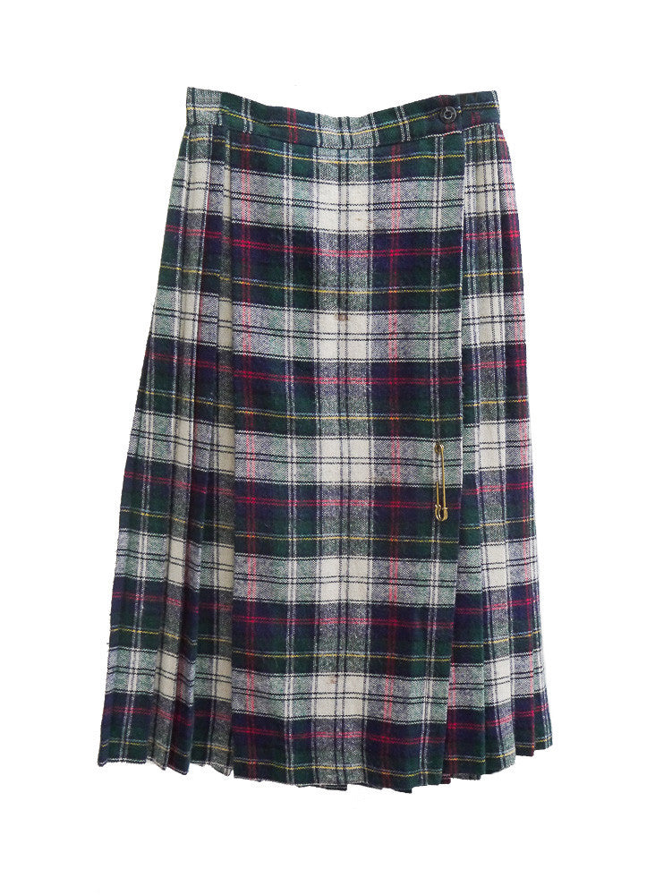 SK002 70s VINTAGE Plaid Pleated Skirt with Gold Safety Pin