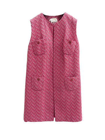 J010 60s VINTAGE Red Textured Chevron Vest
