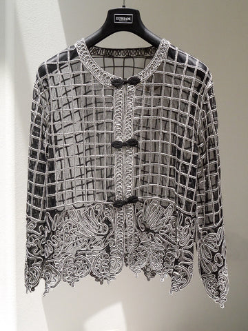 J037 90s Sheer Grid Rouleau Jacket