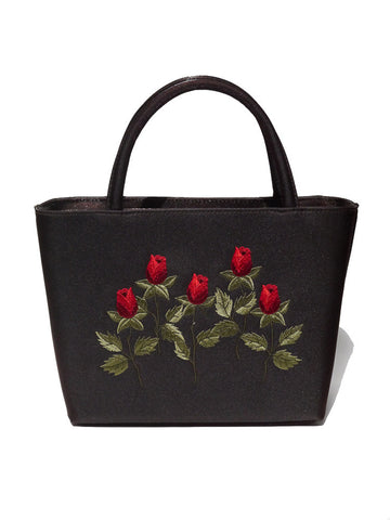 A001 90S Red Roses Satin Stitch Bag