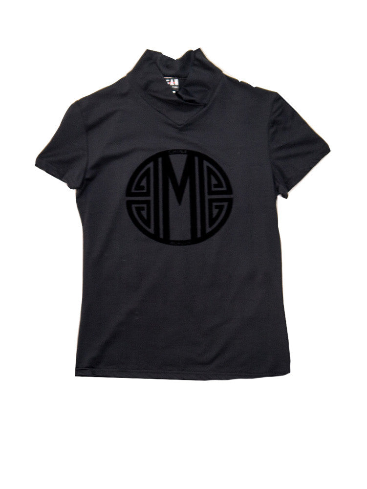 T028A 90s MORGAN DE TOI Flocked Stretch Tee with Circle Symbol
