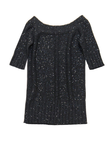 D028 D. EXTERIOR Sequin Sweater Dress