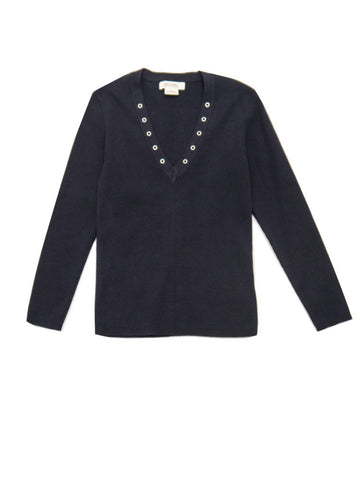 SC010 90s VINTAGE Michael Kors Ribbed Navy Pullover